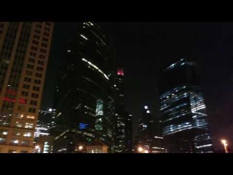 Full moon on Chicago river