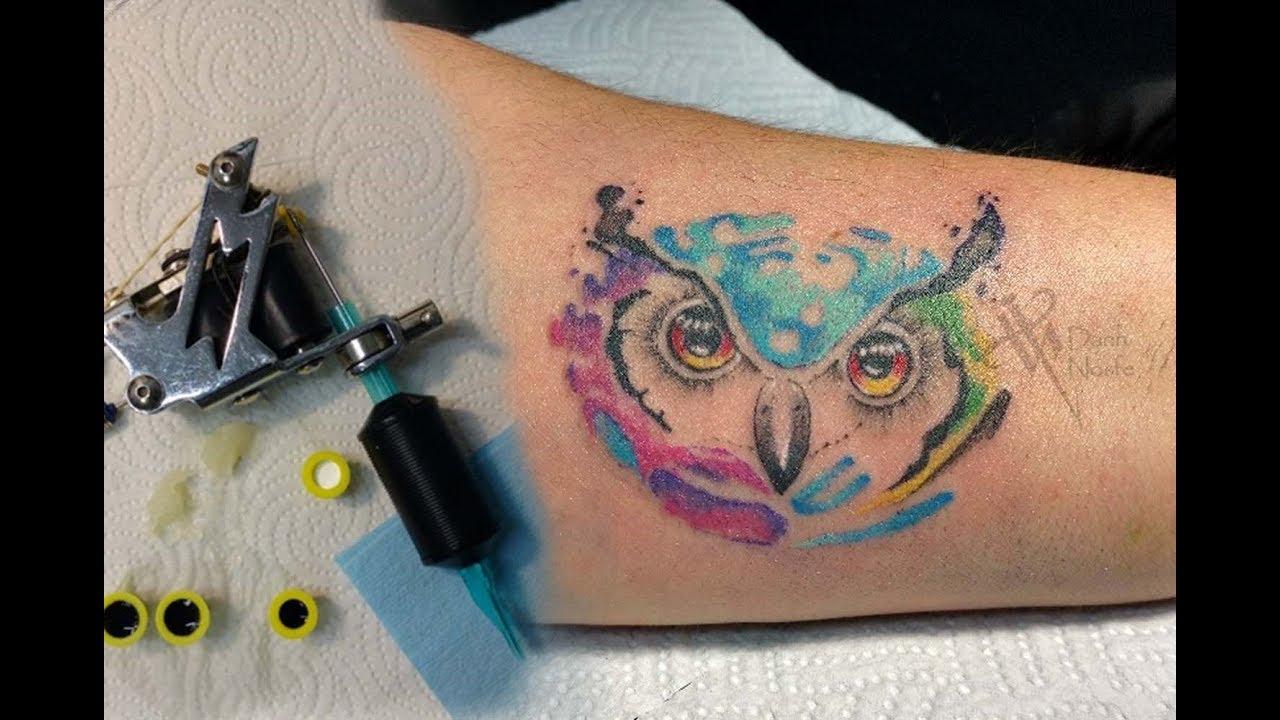 Buho Tatuaje Mandala timelapse buho acuarela tattoo / tiemelapse owl tattoo - nosfe ink tattoo