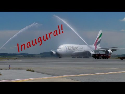 INAUGURAL FLIGHT! | Emirates A380 Water Salute & ULTRA Close-Up Action at Vienna Airport!