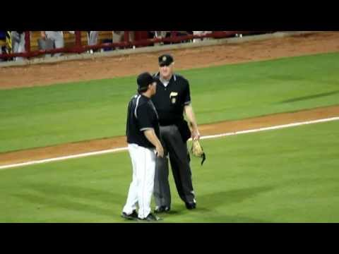 USC vs. LSU - Ray Tanner argues with umpire