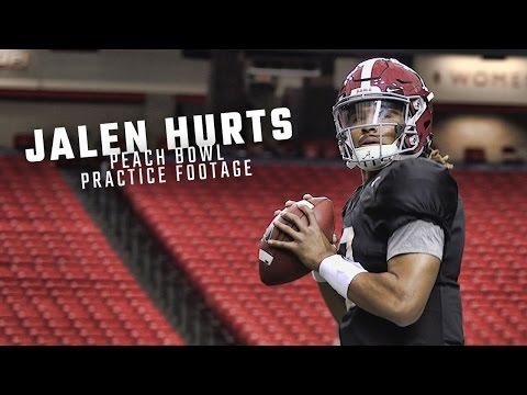Watch as Alabama QB Jalen Hurts prepares for Washington
