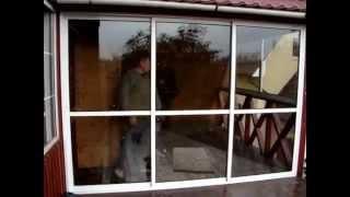 Раздвижная алюминиевая перегородка дверь.(Алюминиевая перегородка дверь на веранде. Раздвижной профиль