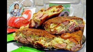 Заливной пирог с сосисками и сыром. Сытный и вкусный рецепт пирога.