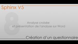 Formation Sphinx - Partie 8 - Analyse croisée et présentation de l'analyse sur Word