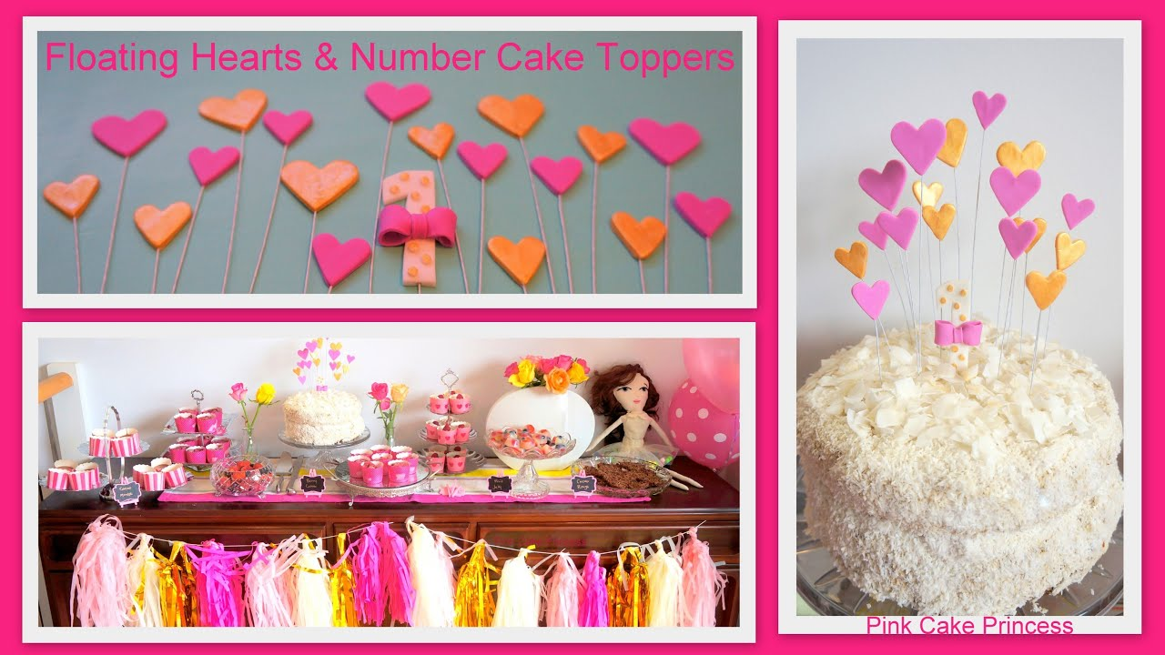 How To Make Floating Hearts Number 1 Cake Toppers Decorations