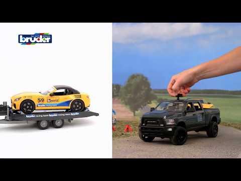 Машинка Bruder джип Dodge RAM 2500 с прицепом-эвакуатором и родстером