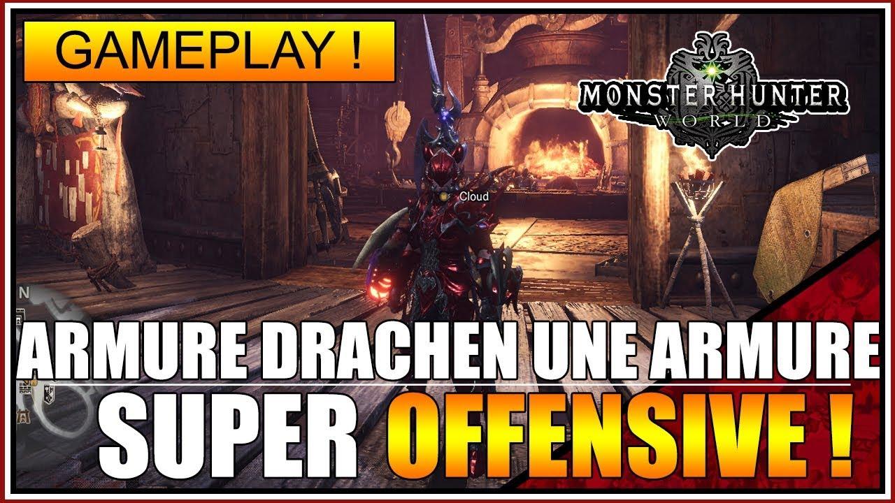GAMEPLAY - L'ARMURE DRACHEN (BEHEMOTH) - UNE ARMURE SUPER OFFENSIVE ! - MONSTER HUNTER WORLD - FR