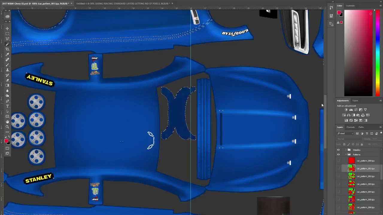 How To Paint A Car For Iracing Using Base Templates Removing Extra Pixels