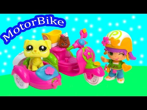 Pinypon Motorbike Car & Sidecar Toy Playset Littlest Pet Shop Shopkins Friends Toys Review Opening