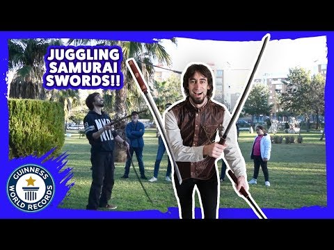 Most consecutive samurai sword juggling catches - Guinness World Records