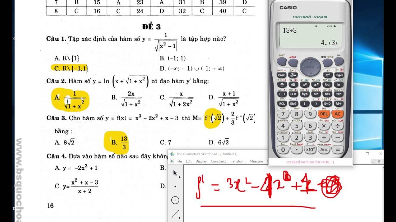 [Trắc nghiệm toán THPT] Tập 10: Đề 3 câu 1-10 – Casio trong trắc nghiệm toán
