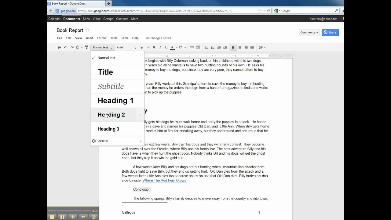 how to use table of contents in google docs