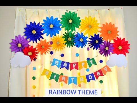 RAINBOW THEME BIRTHDAY PARTY DECORATION IDEAS  EASY paper flower decoration for BIRTHDAY   DIY