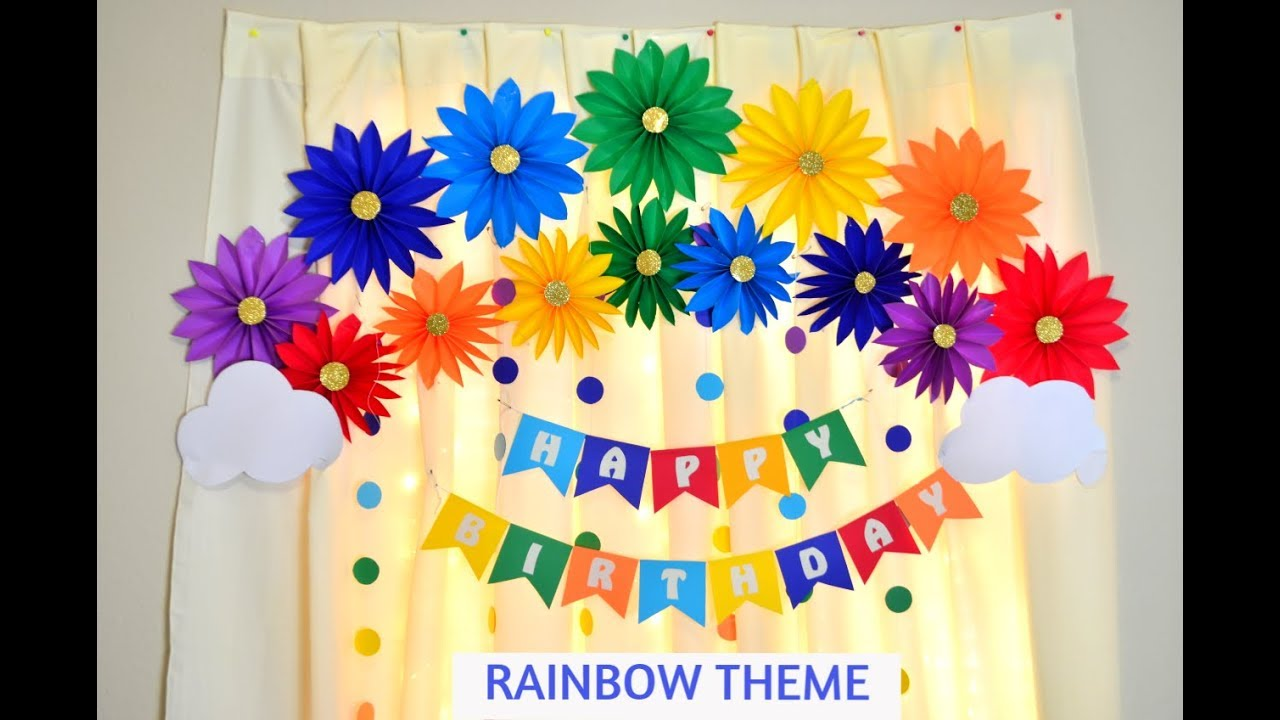 RAINBOW THEME BIRTHDAY PARTY DECORATION IDEAS