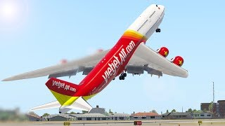 Giant Boeing 747 Take Off After Taxi At The Wrong Runway | X-Plane 11