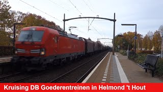 Kruising van 2 goederentreinen van DB Cargo op station Helmond 't Hout!