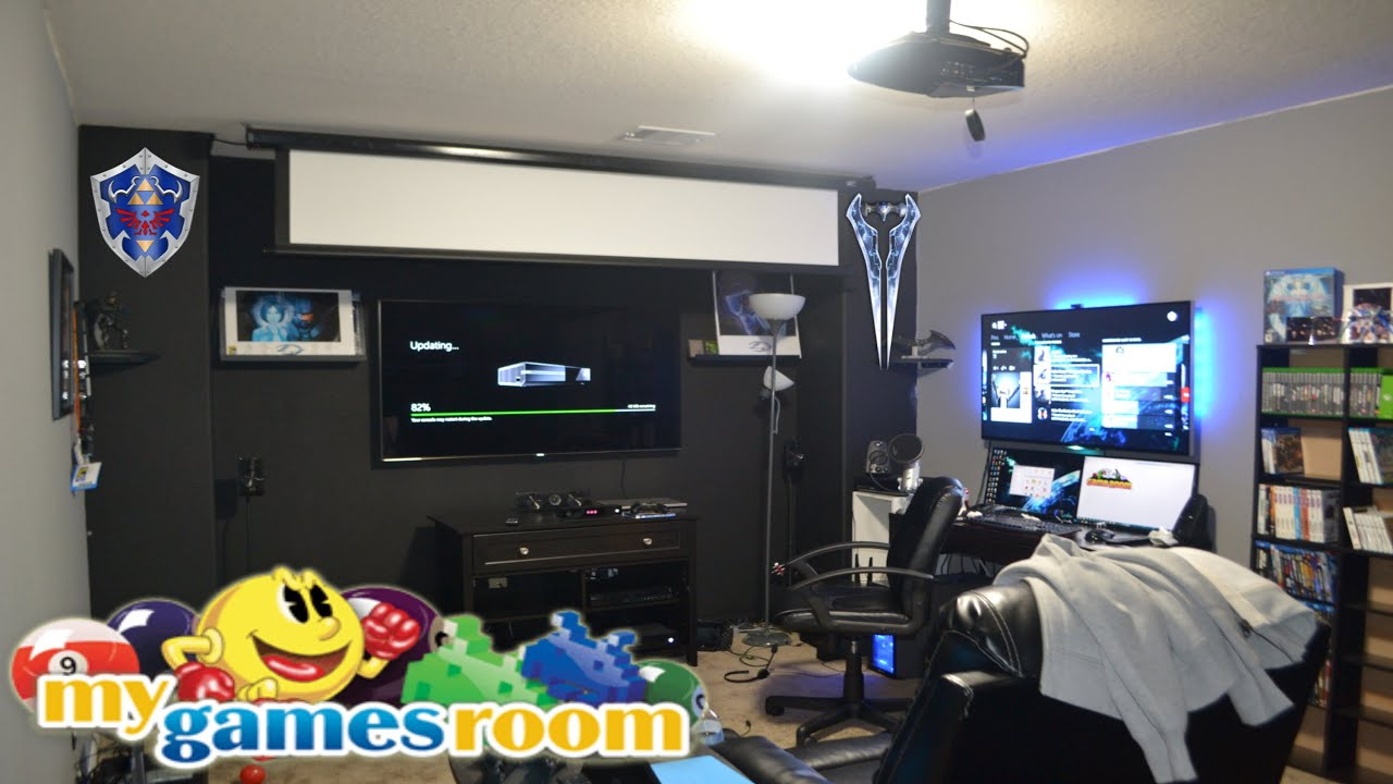 Best gaming room 2015 january work in progress one of for Best living room setup