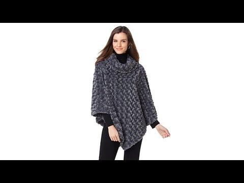 A By Adrienne Landau Faux Mink Knit Cowl Neck Poncho Youtube