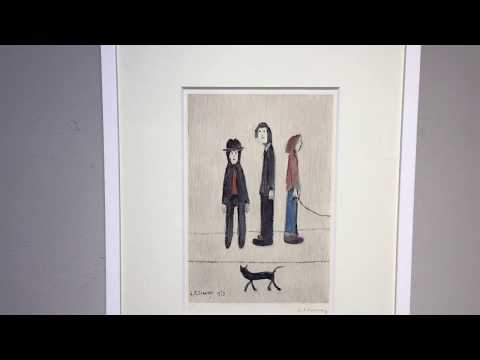 L.S. LOWRY | THREE MEN AND A CAT