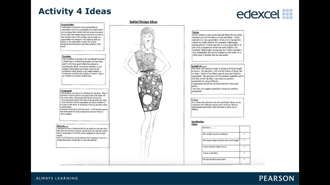 Textiles coursework design specification