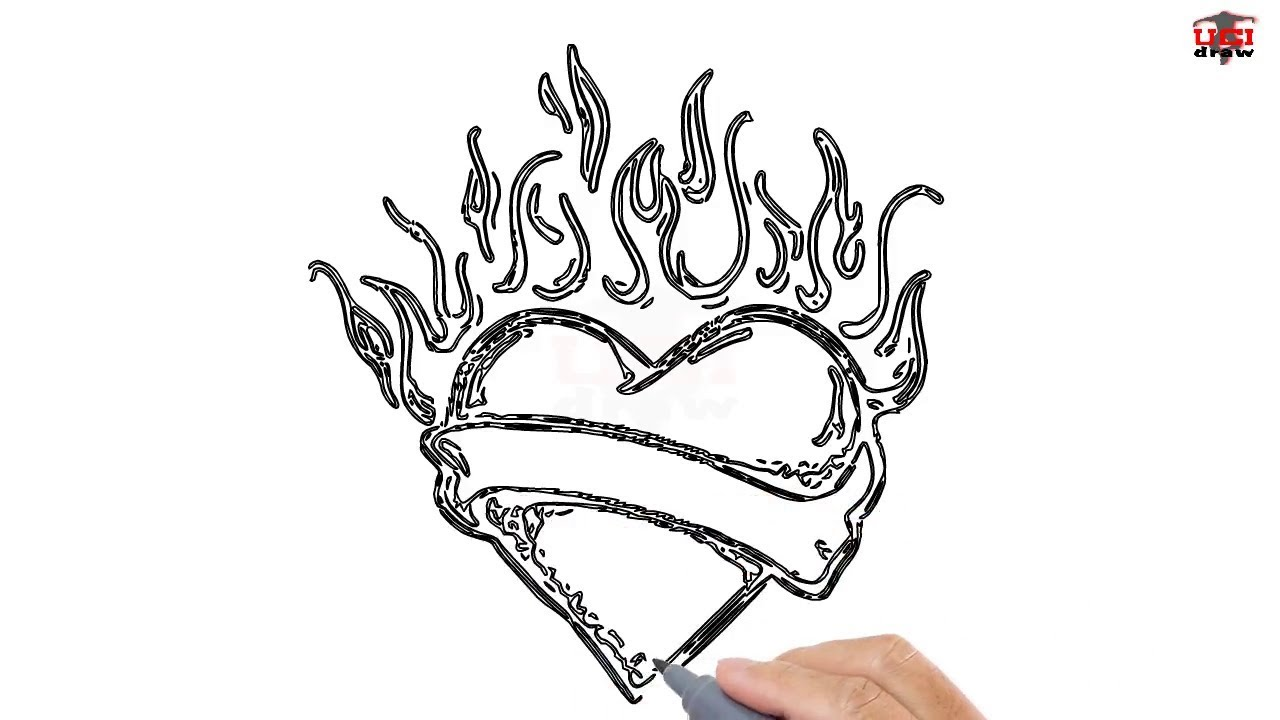 How to Draw a Heart with Flames Easy Step By Step Drawing ...