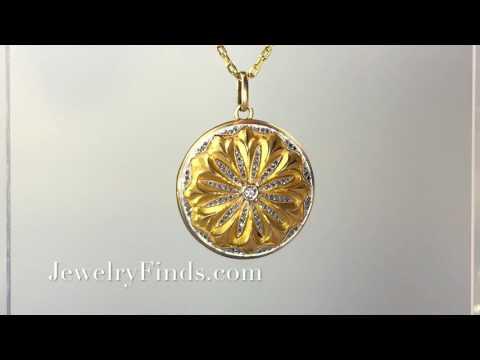 Art Nouveau Antique Diamond 18k Yellow Gold Platinum Locket Pendant Necklace