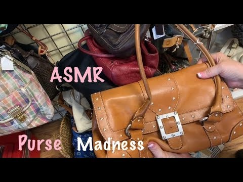 ASMR Purse Rummage Madness!/Leather & fabric  sounds/Purse shopping (No talking)