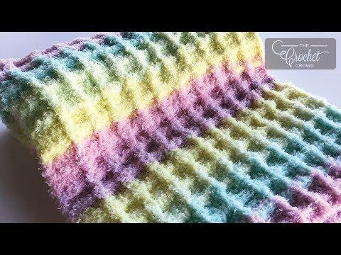 Crochet Waffle Stitch - Easy Baby Blanket
