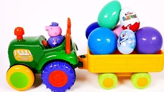 Toy Tractor Carries Many Surprise Eggs Filled with Surprise Toys for Children thumbnail
