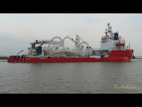 offshore Cable Layer ATALANTI 5BYY2 IMO 8661616 outbound Emden with filled cable tank Kabelleger