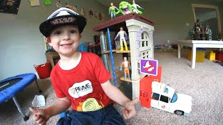 father son get best toy ever ghostbusters firehouse