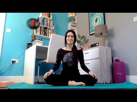 30 minute restorative yoga sequence for neck shoulder
