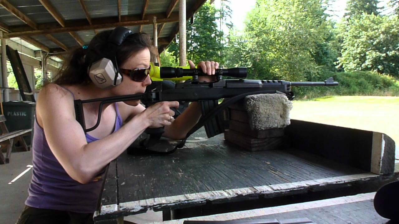 sarah shooting a ruger mini 14 ranch with folding stock and bushnell