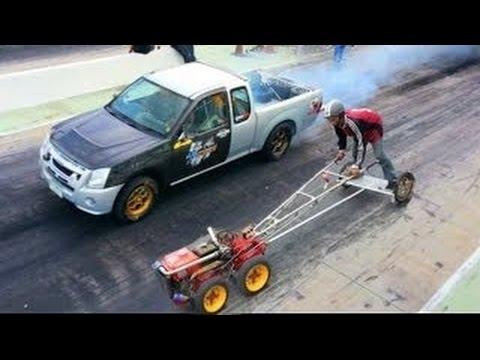 Lawn Mower Racing >> 5 HP Lawnmower VS 8 Cyclinder Turbocharged Pickup Truck ...