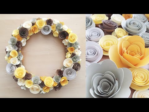 DIY Paper Flower | Rolled Paper Flower Tutorial | How to make Rolled Paper Flower Wreath