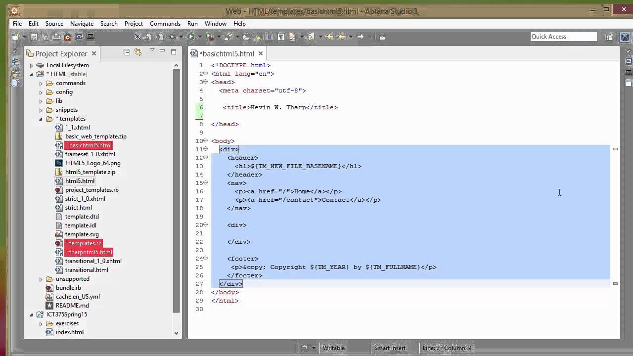 Setting up a Basic HTML5 Custom Template in Aptana Studio 3 - YouTube
