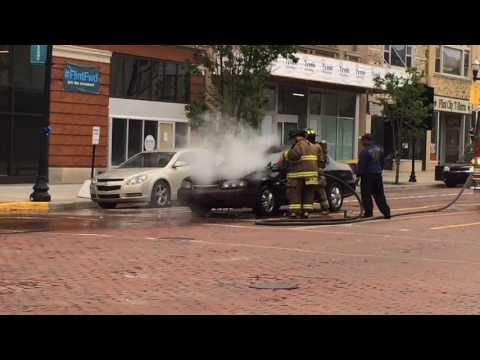 Downtown Flint car fire