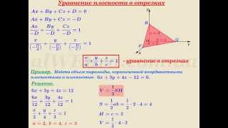 "Видеоурок ""Уравнение плоскости в отрезках"""