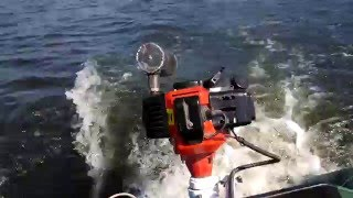 Мотор на лодку своими руками из триммера. 1-е испытание на воде
