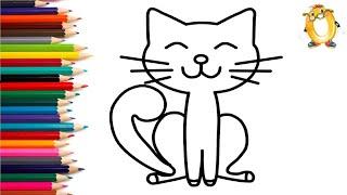 Раскраска для детей ДОВОЛЬНЫЙ КОТ. Мультик - Раскраска. Учим цвета II ОБУЧАШКА ТВ