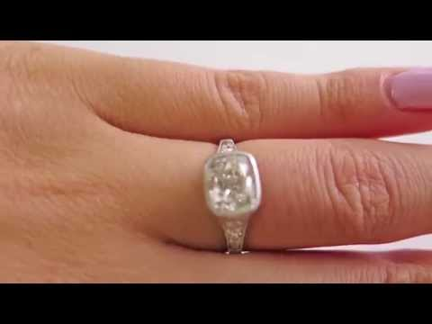 Edwardian 2.09ctw Old Mine Cushion VINTAGE ANTIQUE Diamond ENGAGEMENT Platinum Ring