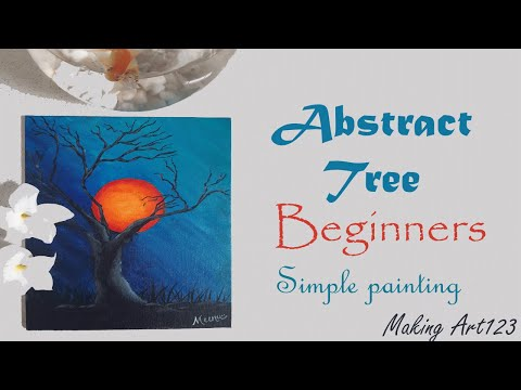 Easy Abstract tree acrylic painting – Beginners painting- Easy Landscape painting- Simple paintings