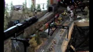 o scale mth and lionel train layout using woodland scenics