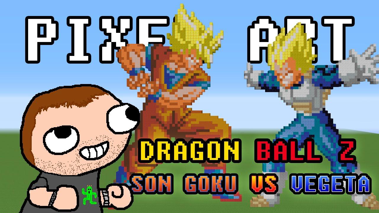 Minecraft Pixel Art Dragon Ball Z Son Goku Vs Vegeta