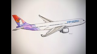 Hawaiian Airlines Arbus A330, Drawing timelapse