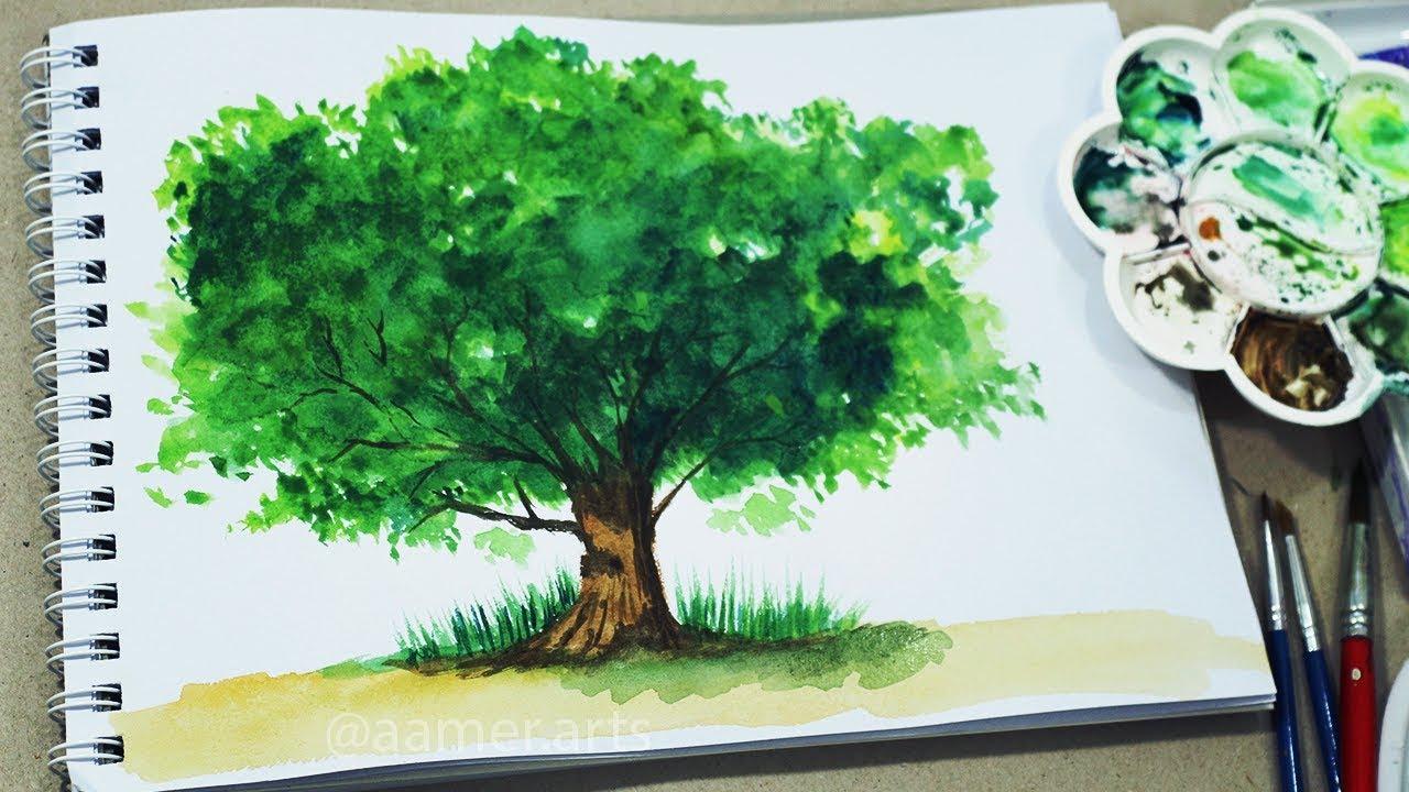 طريقة رسم شجرة بالالوان المائية سهل جدا Youtube