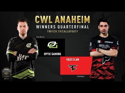 Optic Gaming Vs FaZe Clan   CWL Anaheim 2019   Winners Quarterfinal