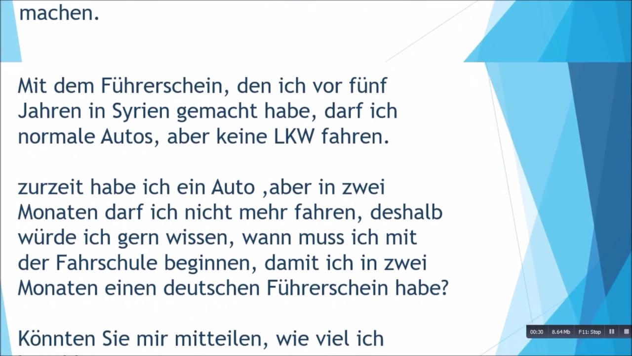 Führerschein Machen Brief Schreiben Zur B1 Prüfung Youtube