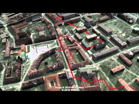 Warsaw Ghetto Wall Footprint Superimposed On 3D Map of Warsaw (a work in progress)