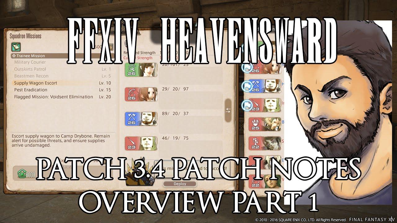 FFXIV - Patch 3 4 Prelim Notes Overview Part 1 (Squadrons, Housing,  Wondrous Tails)